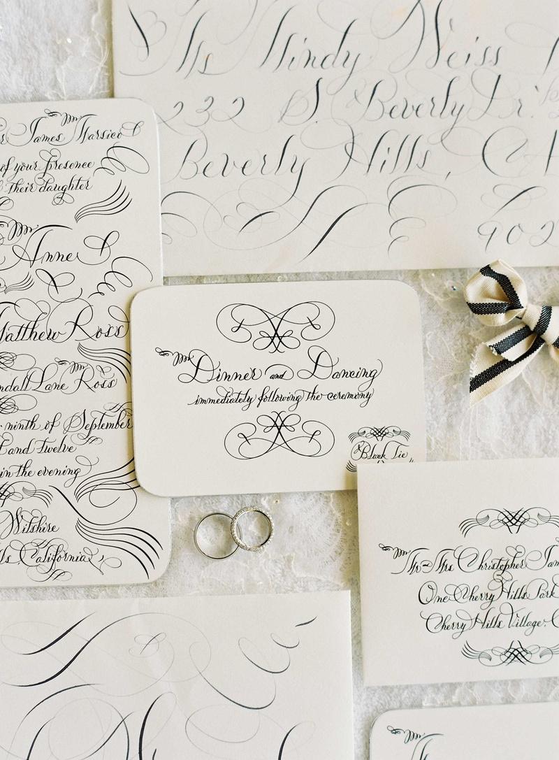 Lehr and Black calligraphy invitations