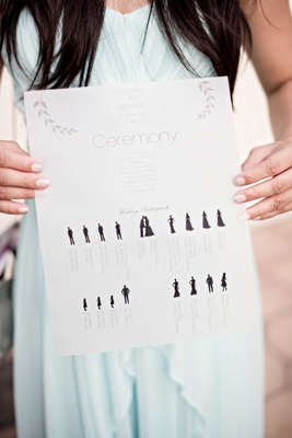 ceremony program with wedding party graphics figures california wedding creative paper goods ideas