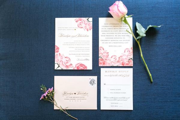 Pink rose design motif for wedding vow renewal anniversary