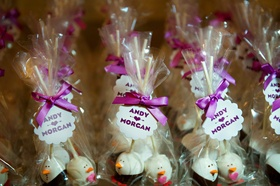 Penguin-shaped cake pops for Morgan Pressel's wedding favors
