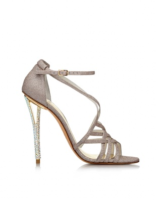 02c1ade060b Stuart Weitzman sandal with crystal cutout heel and glitter ankle strap.