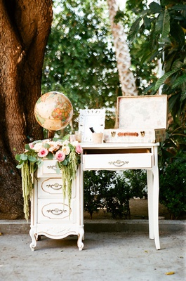 wedding reception guest book alternative suitcase for guests to write travel related messages
