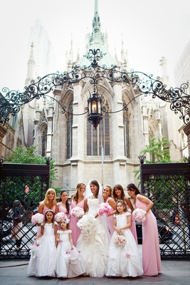 Pink bridesmaids and flower girls