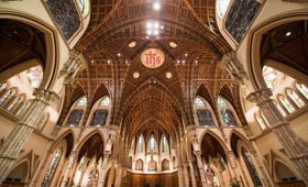 wedding cathedral venue church in chicago holy name cathedral stained glass windows arches