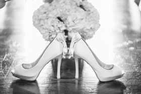 Black and white photo of Badgley Mischka shoes