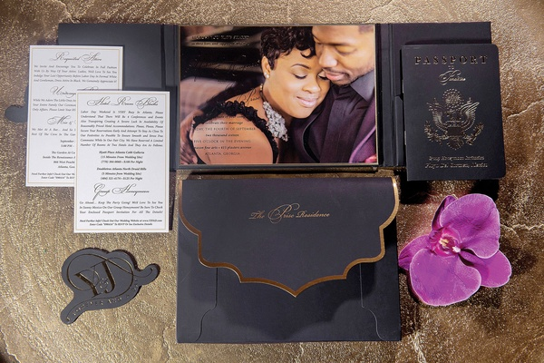 Wedding invitation with photo of bride and groom engagement image gold foil black passport orchid