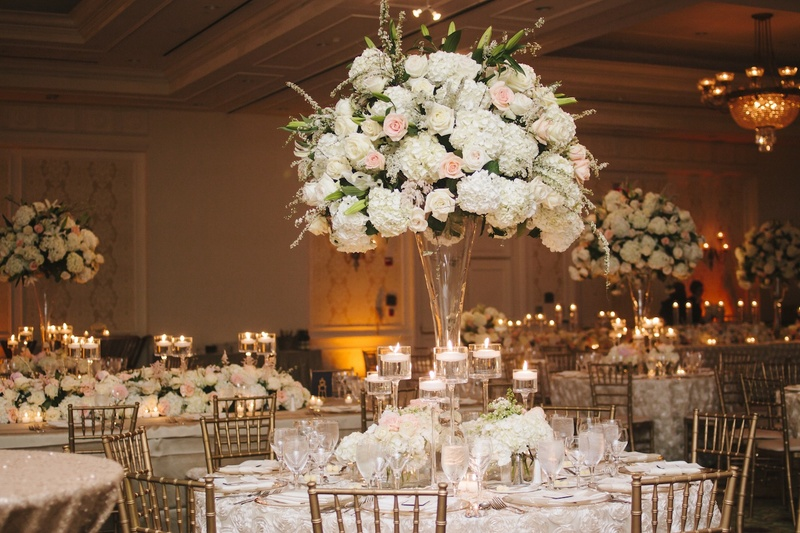 Reception Dcor Photos Tall Floral Centerpieces Floating Candles