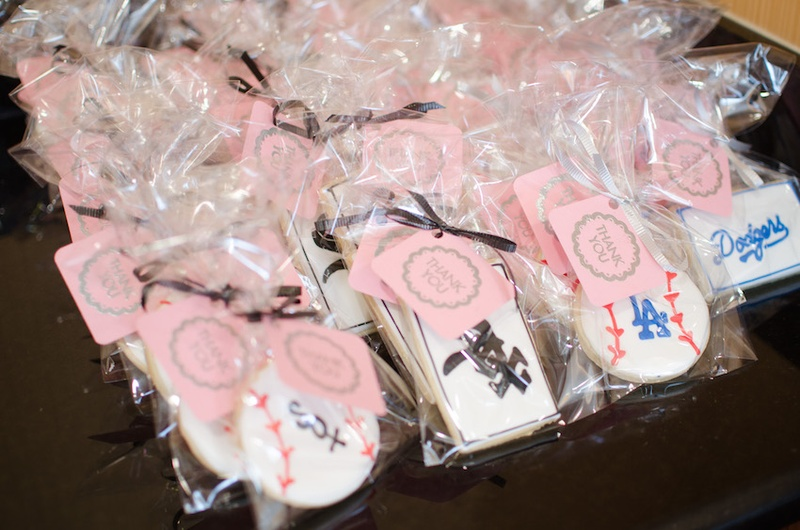 wedding shower cookie favors with boston white sox and los angeles dodgers logos