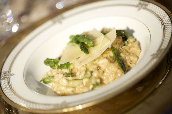 Brown butter risotto with asparagus and shaved Parmesan.