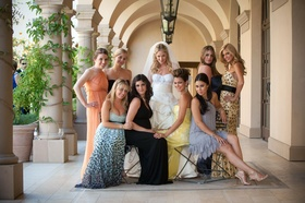 Bride with bridesmaids in their own dresses