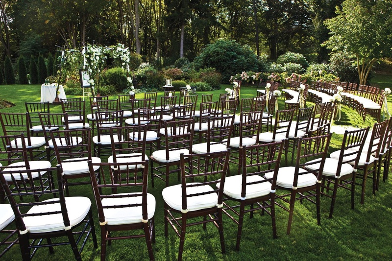 Five rows of chairs with white cushions at backyard wedding