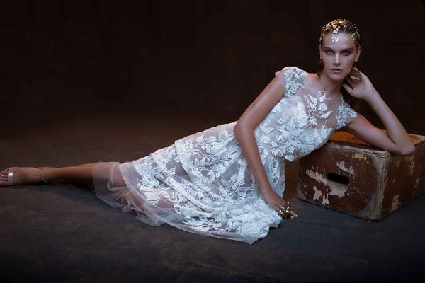 Limor Rosen 2017 Grace flower applique short wedding dress crop top Treasure collection