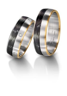 Furrer Jacot 71-29260 palladium, rose gold and carbon fiber two tone wedding band
