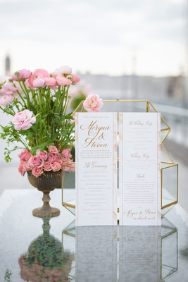 Pink and gold wedding ceremony program calligraphy schedule of events note of thanks wedding party