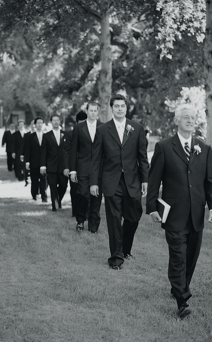 Black and white photo of men processional