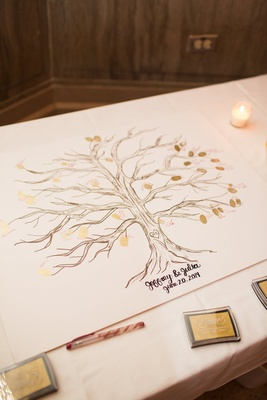 Alternative guestbook idea family tree with gold fingerprints