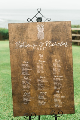 wedding reception seating chart destination wedding wood sign pineapple design calligraphy seating