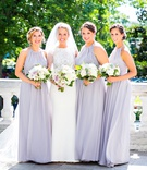 Jasmine bridesmaid dresses floor length bridesmaid bride white lavender purple bouquets