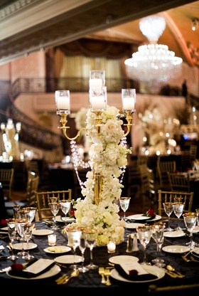 san francisco giants joe panik's wedding, gold candelabra wrapped with crystals and flowers