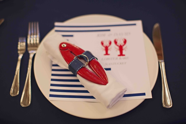 Nantucket rehearsal dinner with red and blue decorations