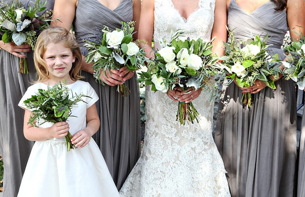 Grey Bridesmaid Dresses And Flower Girl With Rustic Green White Bouquets