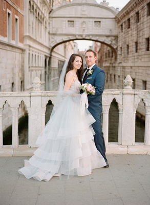Wedding portrait bride in hayley paige horsehair wedding dress crystal bodice veil bouquet venice