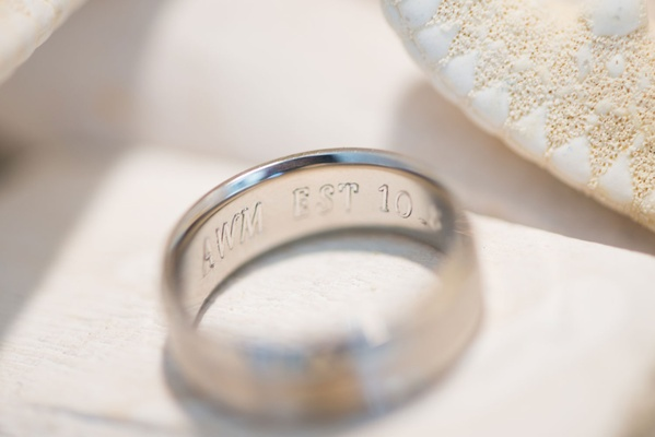 wedding band with engravement inside