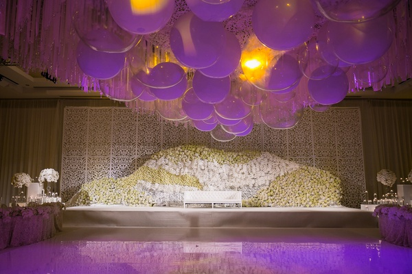floral wall stage dance floor couch indian hindu wedding california white color scheme purple