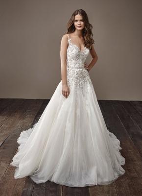 Badgley Mischka Bride 2018 collection wedding dress Barbara v neck a line bridal gown embellishement