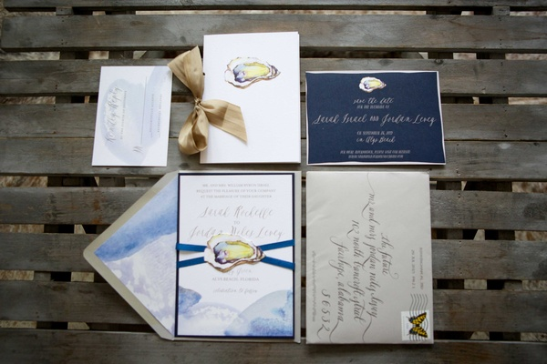 oyster invitation suite coastal florida wedding beach ocean sea blue champagne details gray