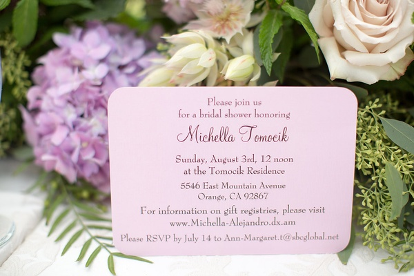 light pink bridal shower invitation with rounded corners