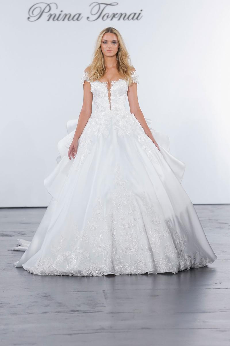 Pnina Tornai for Kleinfeld 2018 wedding dress ball gown plunging neckline ruffle skirt