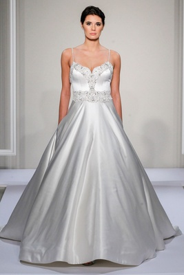 Dennis Basso 2016 satin ball gown with spaghetti straps and beaded bodice