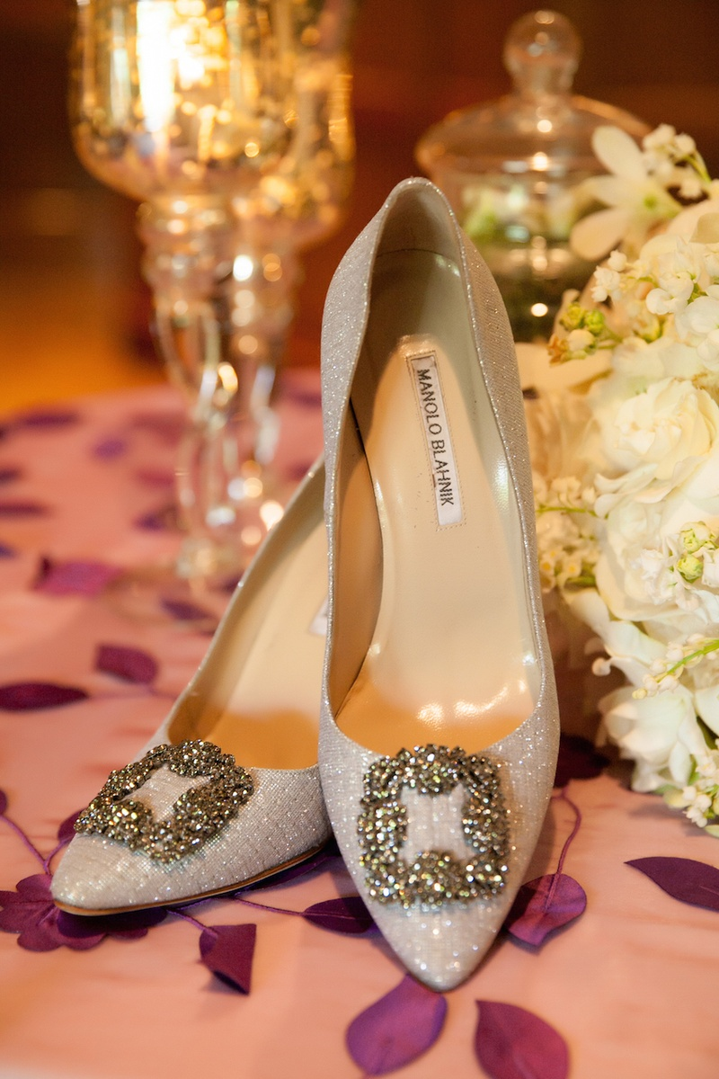 Manolo Blahnik glitter pumps with square buckle crystal