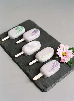 wedding event dessert ideas ice pop ice cream bar lavender hand painted design on slate tray pink