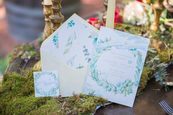 green blue watercolor floral invitations white background celtic wedding