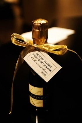 Miniature gold Chandon champagne bottle wedding favor