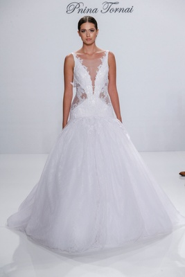Pnina Tornai for Kleinfeld 2017 Dimensions Collection drop waist ball gown sheer side cut outs v