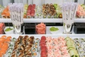 sushi station at wedding reception, reception trend: food station