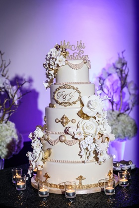 pale pink cake with 3D sugar glowers, blush pearls, and gold detail