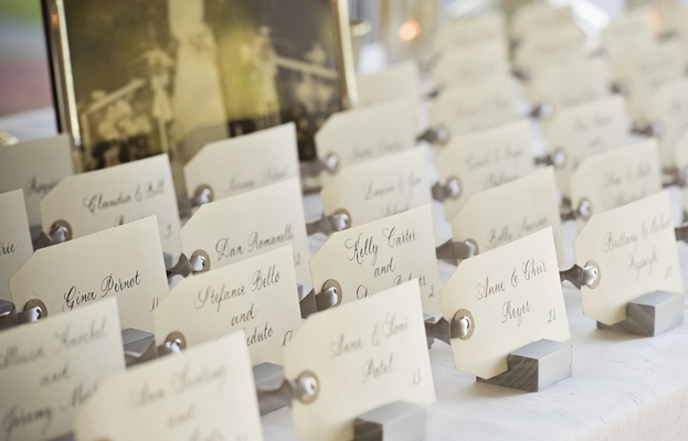 White tags with calligraphy names on wood stands