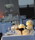 White table with ivory roses and crystal