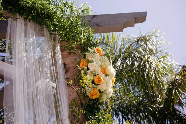 orange roses, orange and white flowers, ceremony flowers wedding arch