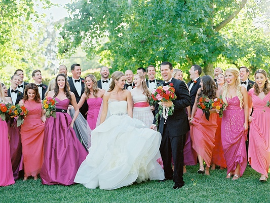 Outdoor Wedding With Vibrant Pink Orange Decor In California
