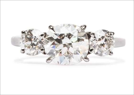 """""""Dasher"""" ring in platinum featuring a 1.20ct cushion-cut diamond and 0.75cts of Old European-cut dia"""