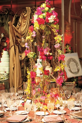 Bohemian and colorful flower and branch centerpiece