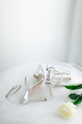 sarah webster rosalind crystal heels, Sleek silver leather multi strap sandal