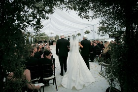 Bride's processional with view of long train