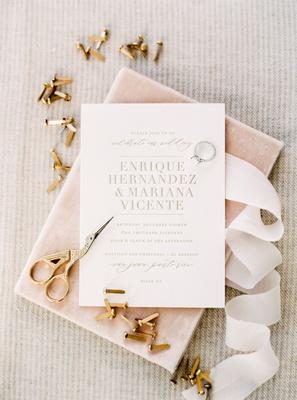 wedding invitation la dodgers kike hernandez and miss puerto rico mariana viceentee gold lettering