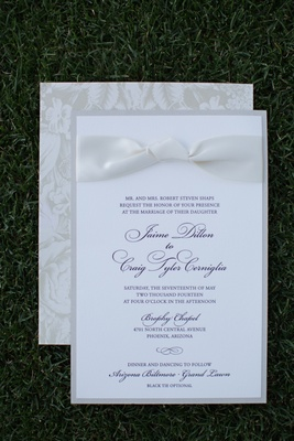 Wedding invitation with purple script print